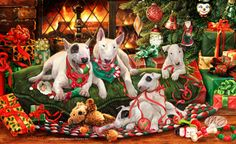 """Bull Terrier Christmas cards are 8 1/2"""" x 5 1/2"""" and come in packages of 12 cards. One design per package. All designs include envelopes, your personal message, and choice of greeting. Select your greeting from the drop-down menu above.Add your personal message to the Comments box during checkout."""