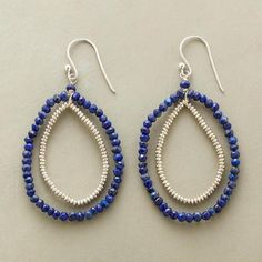 "Night Runner Earrings  $98.00 Faceted lapis runs laps around beaded sterling silver in teardrop earrings with miles of style. Sterling silver wires. Exclusive. 2-3/8""L."