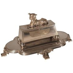 Egyptian Revival Combined Double Inkwell, Pen Tray and Stamp Box | From a unique collection of antique and modern desk accessories at https://www.1stdibs.com/furniture/decorative-objects/desk-accessories/