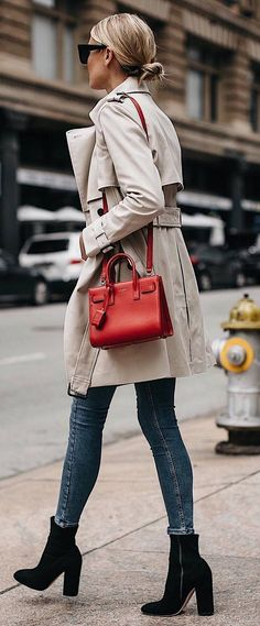 what to wear with a nude coat : red bag skinny jeans boots #omgoutfitideas #styleinspiration #women