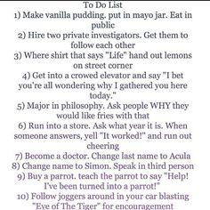 Funny to-do list