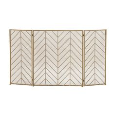 The DecMode Home and Hearth Brass Tin Arrow Fireplace Screen sports a dynamic chevron pattern that will look glamorous whether there is a fire or not. Contemporary Fireplace Screens, Decorative Fireplace Screens, Metal Fireplace, Fireplace Cover, Gold Fireplace Screen, Fireplace Design, Fireplace Guard, Herringbone Fireplace, Fireplace Drawing