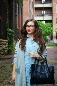 Easy Weekend Outfit | Chambray Dress | Shirt Dress | Croc Mules | Lindsay Pattan | Fashion Blogger