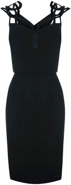 A little Black Dress LBD  KAREN MILLEN ENGLAND Graphic Cutwork Dress