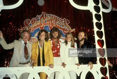 Robert Stigwood, The Bee Gees and Sandy Farina circa 1978 in Los Angeles, California.