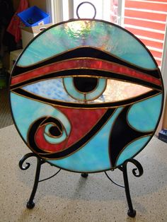 Eye of Ra Egyptian Stained Glass Panel by UltraGlassMT on Etsy, $95.00