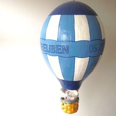 reubens room - childrens baby decor interiors bedroom boy - lylia rose blog - hand made paper mache air balloon personalised