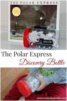 Discovery bottle based on The Polar Express! A perfect Christmas book activity for train lovers.: Discovery bottle based on The Polar Express! A perfect Christmas book activity for train lovers.