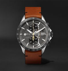 Baume   Mercier - Clifton Club Indian Legend Tribute Scout Chronograph  Stainless Steel and Leather Watch 7232d104ad7