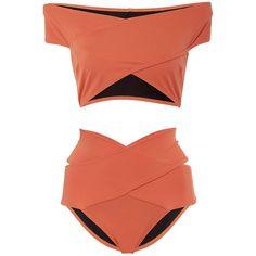 OYE Swimwear Lucette Banded Bikini Set (10.110 UYU) ❤ liked on Polyvore featuring swimwear, bikinis, swimsuits, bathing suits, bikini, swim, orange, cut out swimsuit, bikini bathing suits and cut-out swimsuits