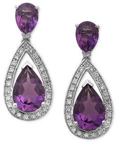 Sterling Silver Earrings, Amethyst (5-1/10 ct. t.w.) and Diamond (1/5 ct. t.w.) Pear Drop Earrings | macys.com