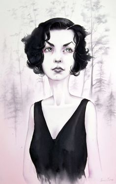 """""""Audrey"""" by Annie Owens - 21"""" x 14"""" watercolor on paper. From the Twin Peaks: Fire Walk With Me 20th Anniversary group art exhibition at the Copro Nason Art Gallery, Santa Monica, CA April/May 2012."""