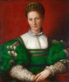 Portraits of  Women of Italian Renaissance. Agnolo Bronzino. Portrait of a Lady in Green