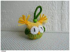 Yellow Green Crochet Keychain Amigurumi Owl Keyring by Etilinki