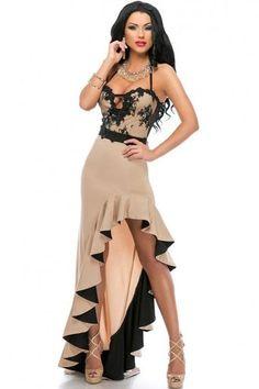 Chic Ruffle Hem Evening Dress