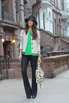 how about  Slim Leg Trumpet Flare jeans with a bright green top and polka dot bag?