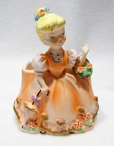 Vintage Rubens Original Girl with Flower Basket Ceramic Planter