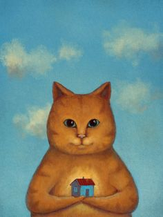 Every Cat Need A Home Painting by Oksana Ariskina