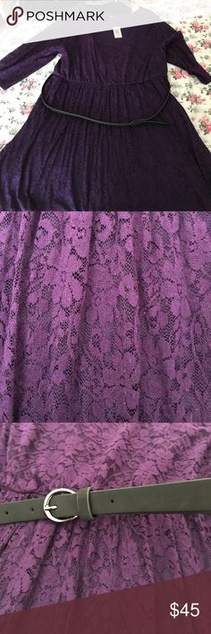 Purple Floral Grape Lace Dress with Belt Torrid 5 Purple Lace Dress with Belt. Contemplating on selling this or not. Let me know if very interested Torrid Dresses