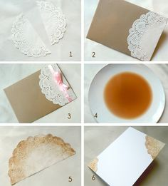 Tutoriel faire-part de mariage vintage Craft Wedding, Diy Wedding, Wedding Decorations, Paper Doilies, Paper Lace, Paper Crafts Origami, Diy Paper, Diy Gift Wrap Box, Deco Theme Marin