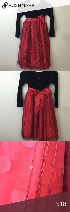 Velvet Polka Dot Dress Black velvet with poofy red polka dot embellished skirt. Button back closure with satin sash. Jona Michelle Dresses Formal