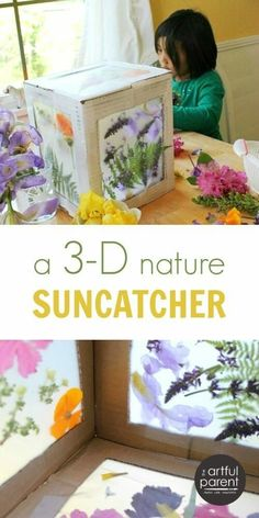 A simple cardboard box gets dressed up as a magical 3D nature suncatcher.  #spring #flowers #craftsforkids #kidsactivities #artsandcrafts