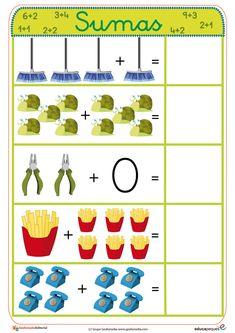 Fichas para aprender a sumar de manera sencilla y muy visual. Aprovecha y utilízalas para los más peques