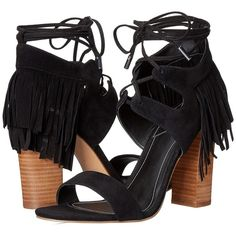 KENDALL + KYLIE Saree (Black/Black) High Heels (360 RON) ❤ liked on Polyvore featuring shoes, sandals, black, lace up high heel sandals, fringe high heel sandals, black lace up sandals, leather sandals and leather fringe sandals