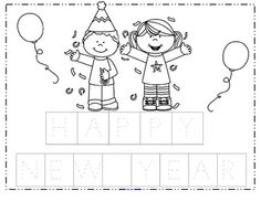 free make a happy new year poster cut and paste the mixed up letters onto