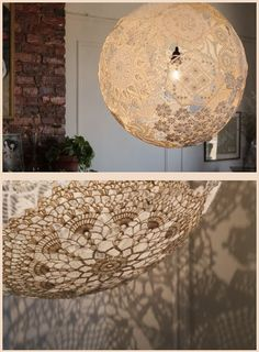 Globe lamp made from vintage doilys