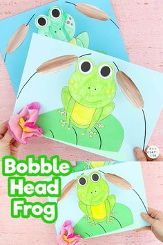 Kickstart Spring with this cute Bobble Head Paper Frog Craft for kids. Fun, easy and engaging -perfect for extending a life cycle of a frog lesson. Animal Crafts For Kids, Spring Crafts For Kids, Craft Projects For Kids, Paper Crafts For Kids, Art And Craft, Easy Art Projects, Easy Arts And Crafts, Easy Crafts For Kids, Toddler Crafts