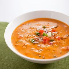Creamy Gazpacho Andaluz - really tasty, especially if you usually feel like gazpacho looks like it should be on a chip...