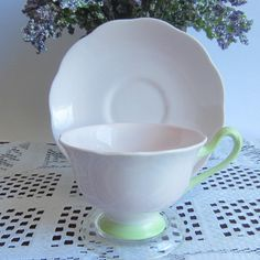 Royal Albert PASTELLA Light Pink with Green Bone China Tea Cup and Saucer by LauriesFineChina on Etsy