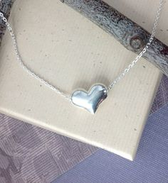 Perfect for Valentine's Day! Puffy heart necklace sterling silver floating by WendyShrayDesigns