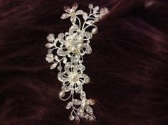 CALLA-Wedding-Hair-Comb-Bridal-Rhinestone-Flower-Vintage-Pearl-Crystal-Slide