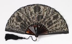 Fan 1895-1910 Mor Weisz tortoiseshell, silk, cotton, paper