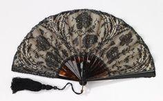 Fan 1895-1910 Mor Weisz tortoiseshell, silk, cotton, paper