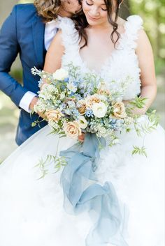 Bride and groom portraits, navy blue tux, blue bouquet Navy Blue Tux, Blue Bouquet, Natural Light, Groom, Portraits, Bride, Wedding Dresses, Photography, Design