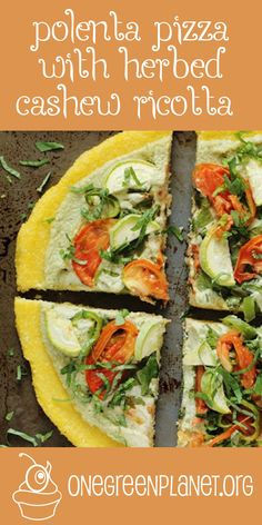 Polenta Pizza With Herbed Cashew Ricotta [Vegan, Gluten-Free] @courtlynnewest http://www.onegreenplanet.org/vegan-recipe/polenta-pizza-with-herbed-cashew-ricotta/  #eatfortheplanet #vegan #veganshare #vegansofig #plantbased #plantpower #healthy #eatclean #yum #foodporn #food #veganfoodporn #veganfood #vegancooking #veggieinspired #plantbasedcooking #plantbased #veg #eatgreen #eatclean #veganfoodshare #meatfree #meatless #dairyfree #plantpower #whatveganseat