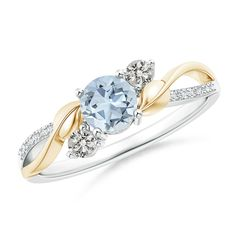 Aquamarine and Diamond Twisted Vine Ring in 14K White and Yellow Gold (5mm Aquamarine) -- Click image for more details. #Rings