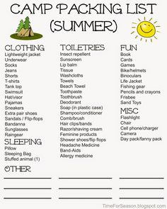 Personal Camp Packing Lists - Free Printable Camping Guide, Camping Tricks, Camping Ideas, Camping List, Camping Checklist, Outdoor Camping, Summer Camp Outfits, Summer Camp Packing, Camping Packing