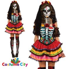 details about womens ladies mexican day of the dead senorita fancy dress halloween costume - Mexican Themed Halloween Costumes