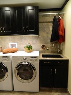laundry room with pet bed and dog washing station. beautiful wood counter, small utility sink, and convenient valet hook . Laundry Room Shelves, Laundry Room Remodel, Laundry Room Organization, Laundry Room Design, Laundry In Bathroom, Laundry Rooms, Laundry Room Sink Cabinet, Basement Laundry, Cabinet Space