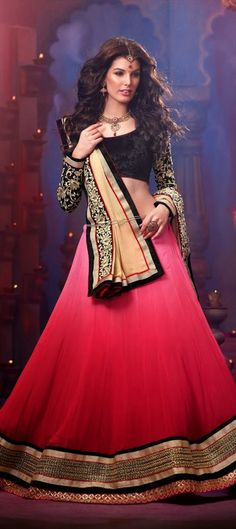 128533, Mehendi & Sangeet Lehenga, Georgette, Velvet, Border, Thread, Red and Maroon, Pink and Majenta Color Family