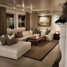 décoration salon beige marron | Deco | Accent walls in living room ...