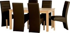This Belmont Dining Set in Natural Oak Veneer/Expresso Brown PU is now available from Wrexham Warehouse Furniture. Oak Dining Sets, New Furniture, Warehouse Furniture, Cool Things To Buy, Dining Chairs, Table, Design, Home Decor, Dublin