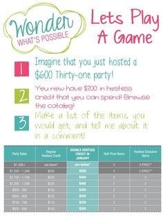 Are you ready to host a Thirty-One party either online or at home? Let me know - this month we have double hostess rewards! Plus I'm giving off to all my hostesses this month! Thirty One Games, Thirty One Fall, Thirty One Party, Thirty One Hostess Rewards, Thirty One Facebook, For Facebook, 31 Party, Thirty One Consultant, Independent Consultant