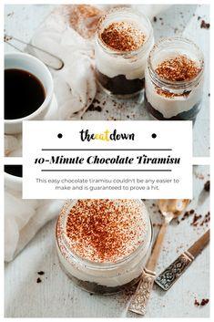This 10-minute chocolate tiramisu dessert recipe couldn't be any easier to make and is guaranteed to prove a hit.#recipe #tiramisu #italian #cooking #dessert