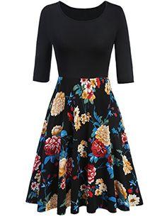 d58470fd41855 Meaneor Ladies Large Swing Pleated Dress Medium Sleeve Retro Vintage Dress  Floral Print Slim Casual Party Vestidos