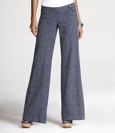 The perfect pants for my navy/white striped shirt - also pinned.